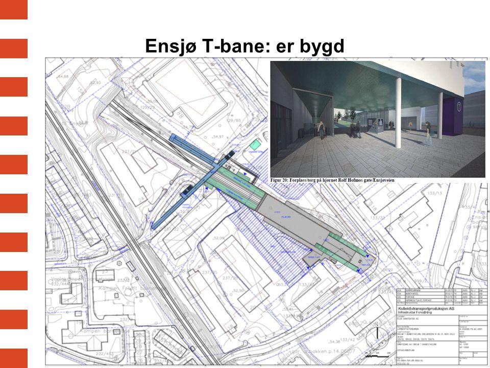 Ensjø T-bane: er bygd Område regulert til offentlig område for T-banen