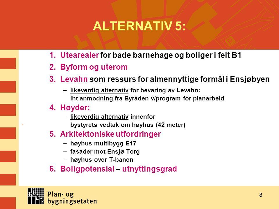 ALTERNATIV 5: 1. Utearealer for både barnehage og boliger i felt B1