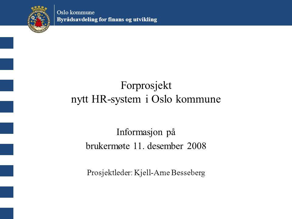 Forprosjekt nytt HR-system i Oslo kommune