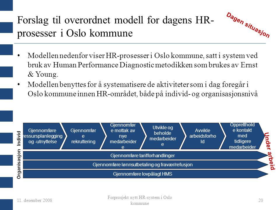 Forslag til overordnet modell for dagens HR-prosesser i Oslo kommune