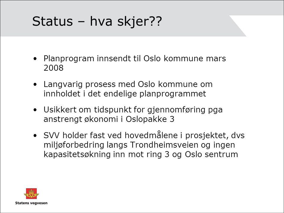 Status – hva skjer Planprogram innsendt til Oslo kommune mars 2008
