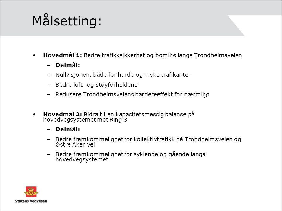 Målsetting: Hovedmål 1: Bedre trafikksikkerhet og bomiljø langs Trondheimsveien. Delmål: Nullvisjonen, både for harde og myke trafikanter.