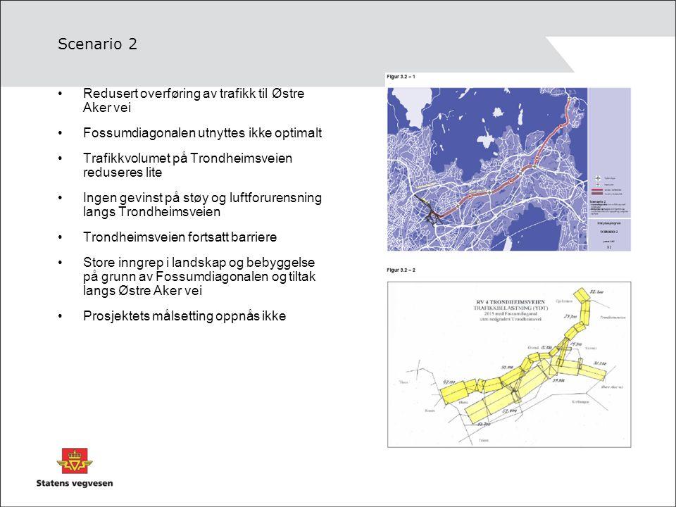 Scenario 2 Redusert overføring av trafikk til Østre Aker vei