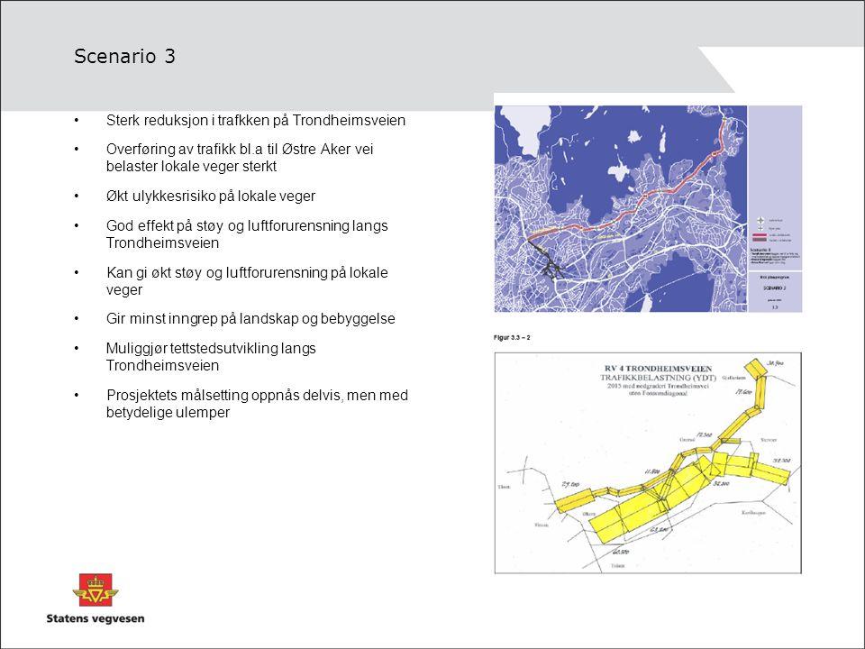 Scenario 3 Sterk reduksjon i trafkken på Trondheimsveien