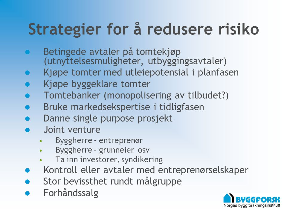 Strategier for å redusere risiko