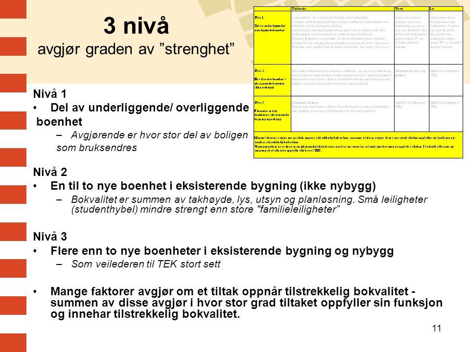 3 nivå avgjør graden av strenghet