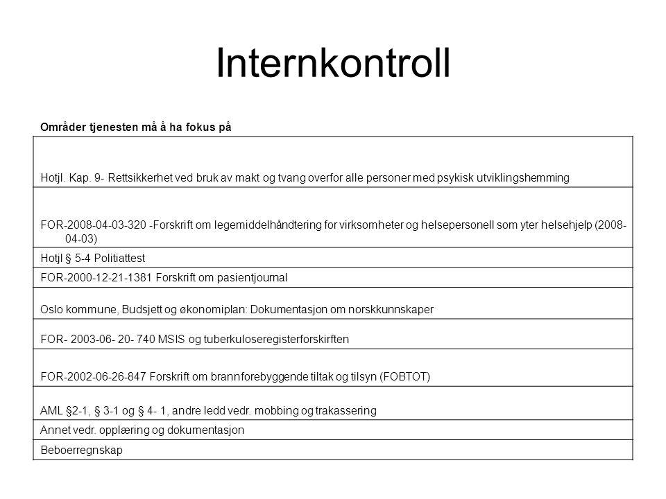 Internkontroll Områder tjenesten må å ha fokus på