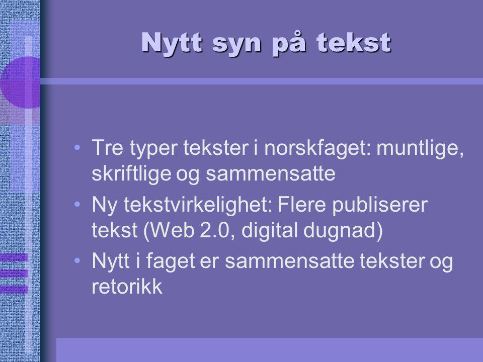 Nytt syn på tekst Tre typer tekster i norskfaget: muntlige, skriftlige og sammensatte.