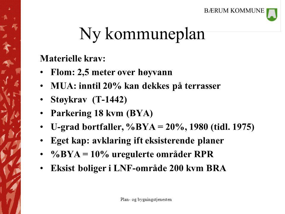 Ny kommuneplan Materielle krav: Flom: 2,5 meter over høyvann