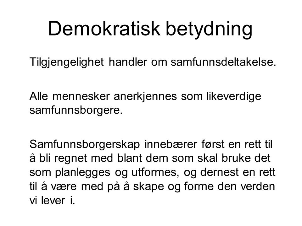 Demokratisk betydning