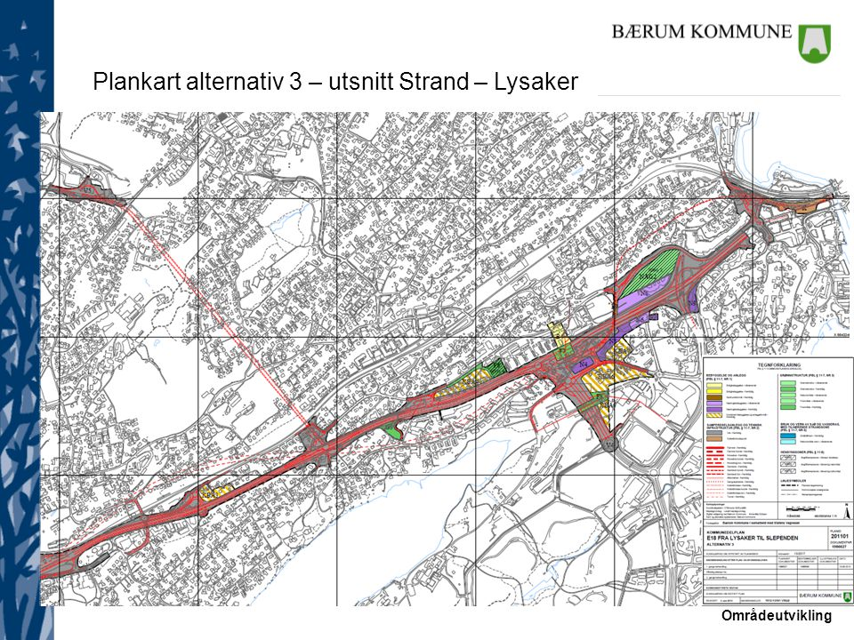 Plankart alternativ 3 – utsnitt Strand – Lysaker