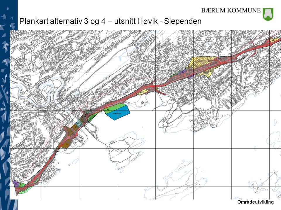 Plankart alternativ 3 og 4 – utsnitt Høvik - Slependen