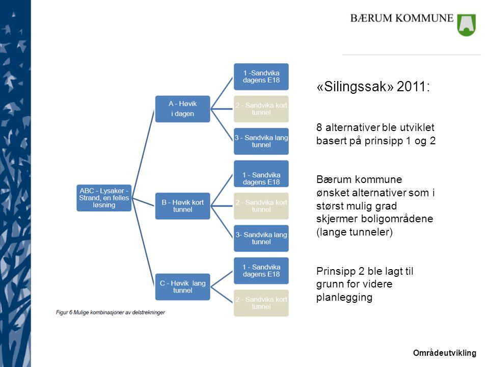 «Silingssak» 2011: 8 alternativer ble utviklet basert på prinsipp 1 og 2.