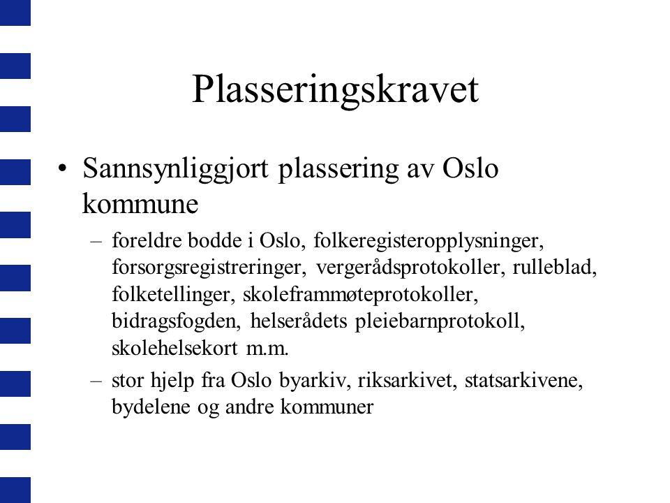Plasseringskravet Sannsynliggjort plassering av Oslo kommune