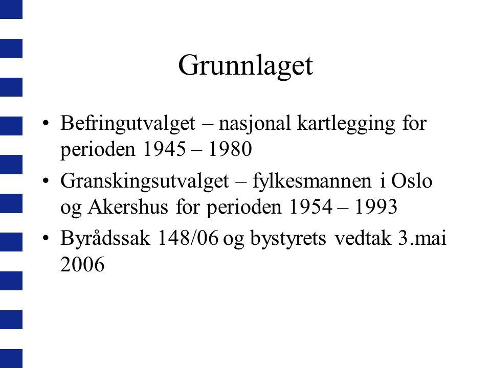 Grunnlaget Befringutvalget – nasjonal kartlegging for perioden 1945 – 1980.