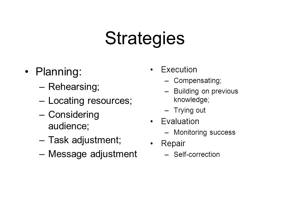 Strategies Planning: Rehearsing; Locating resources;