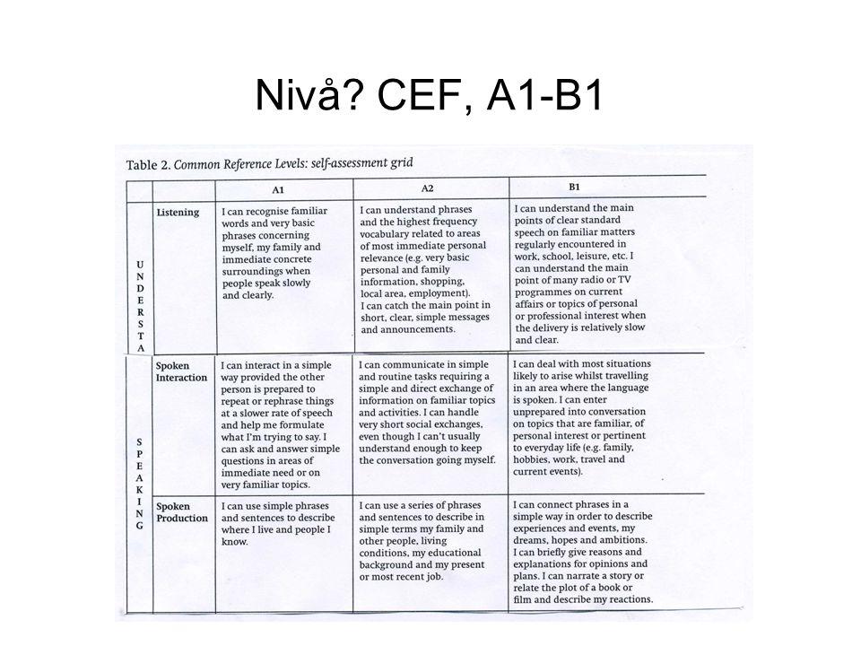 Nivå CEF, A1-B1
