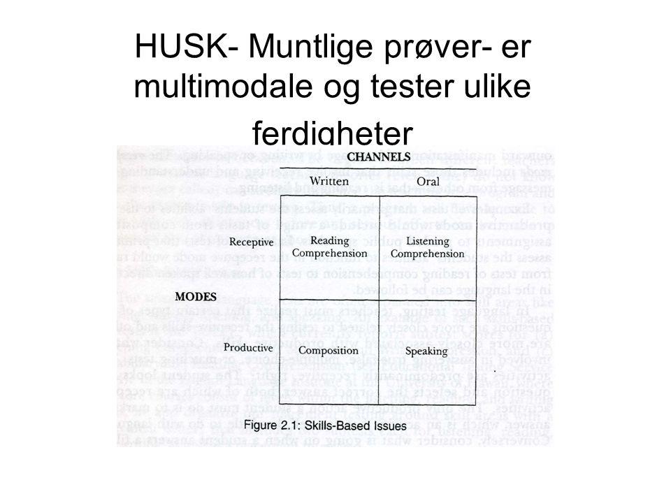 HUSK- Muntlige prøver- er multimodale og tester ulike ferdigheter