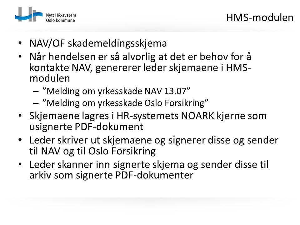 HMS-modulen NAV/OF skademeldingsskjema