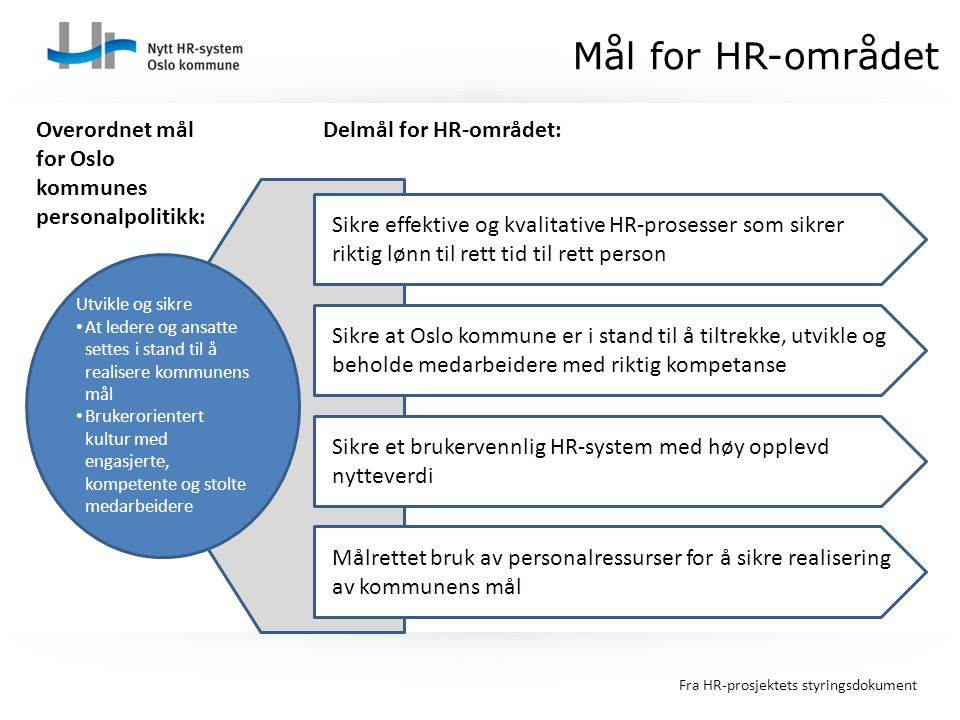 Mål for HR-området Overordnet mål for Oslo kommunes personalpolitikk: