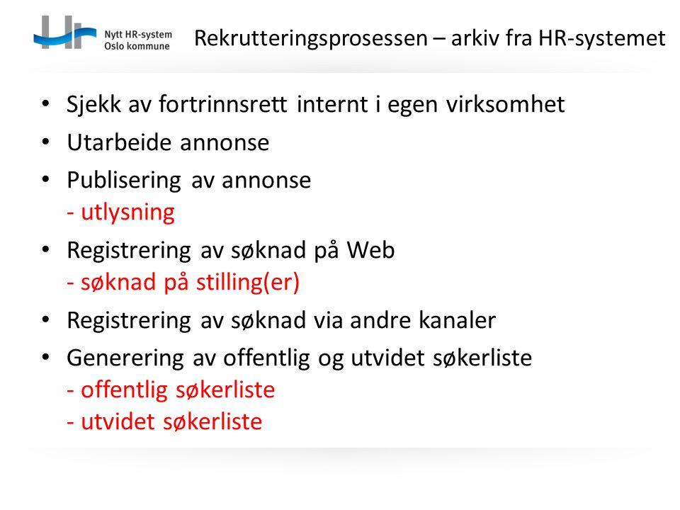 Sjekk av fortrinnsrett internt i egen virksomhet Utarbeide annonse