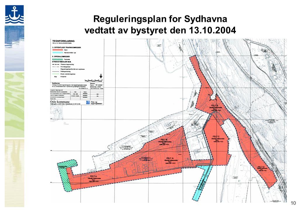 Reguleringsplan for Sydhavna vedtatt av bystyret den 13.10.2004
