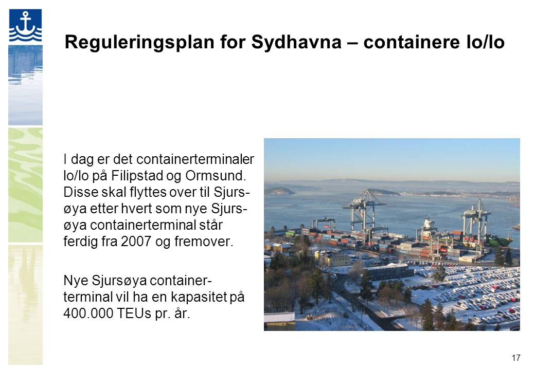 Reguleringsplan for Sydhavna – containere lo/lo