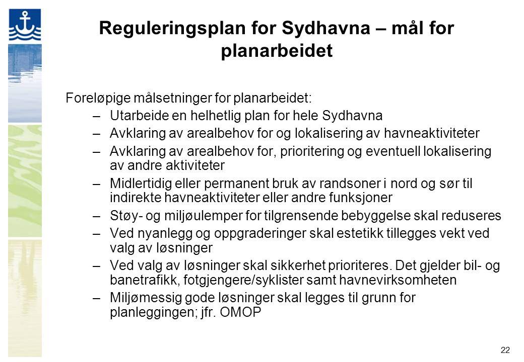 Reguleringsplan for Sydhavna – mål for planarbeidet