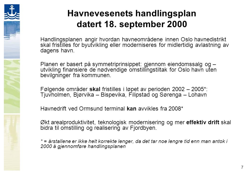 Havnevesenets handlingsplan datert 18. september 2000