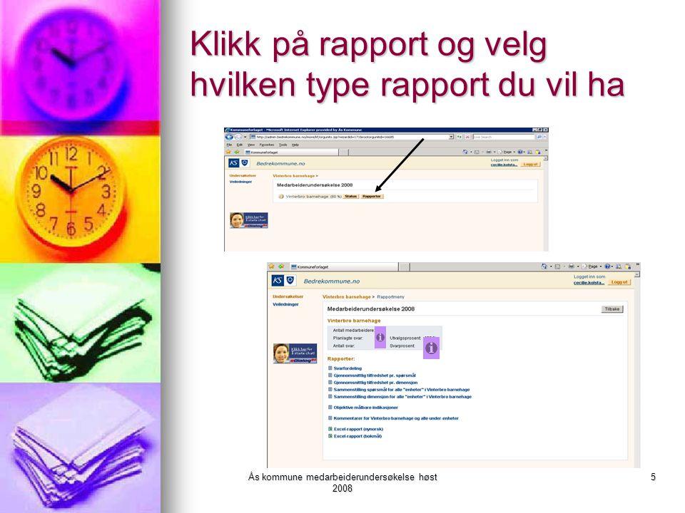 Klikk på rapport og velg hvilken type rapport du vil ha