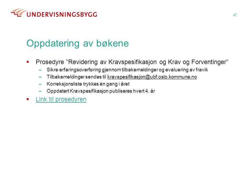 Oppdatering av bøkene Prosedyre Revidering av Kravspesifikasjon og Krav og Forventinger