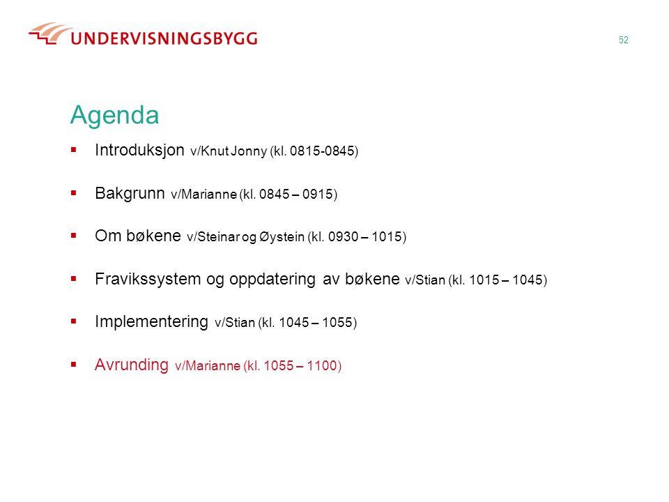 Agenda Introduksjon v/Knut Jonny (kl. 0815-0845)