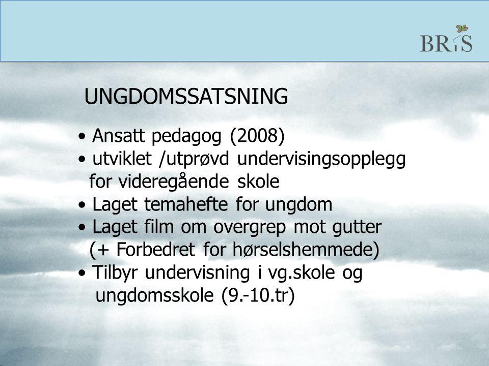 UNGDOMSSATSNING Ansatt pedagog (2008) utviklet /utprøvd undervisingsopplegg. for videregående skole.