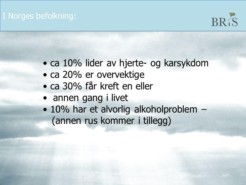 I Norges befolkning: ca 10% lider av hjerte- og karsykdom. ca 20% er overvektige. ca 30% får kreft en eller.