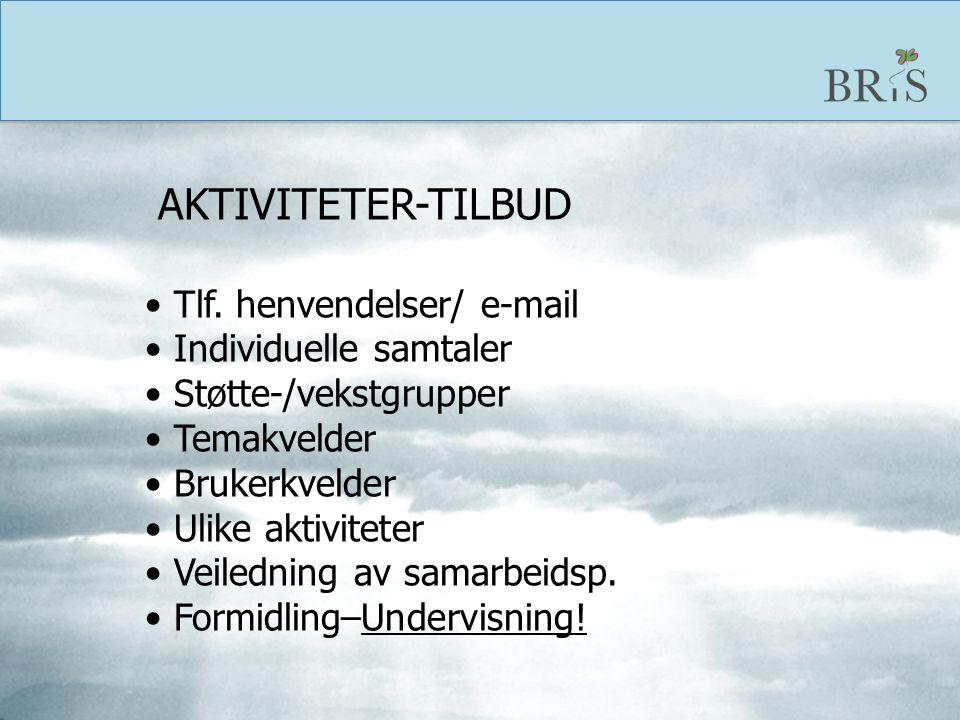 AKTIVITETER-TILBUD Tlf. henvendelser/ e-mail. Individuelle samtaler. Støtte-/vekstgrupper. Temakvelder.
