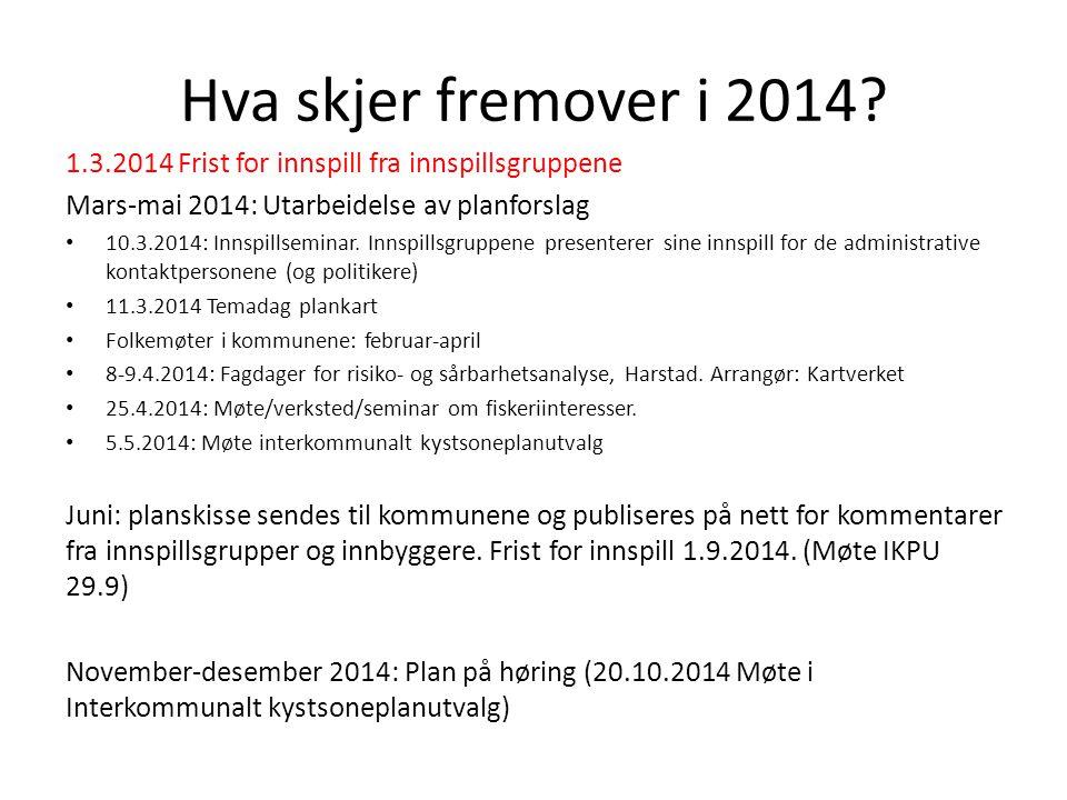 Hva skjer fremover i 2014 1.3.2014 Frist for innspill fra innspillsgruppene. Mars-mai 2014: Utarbeidelse av planforslag.