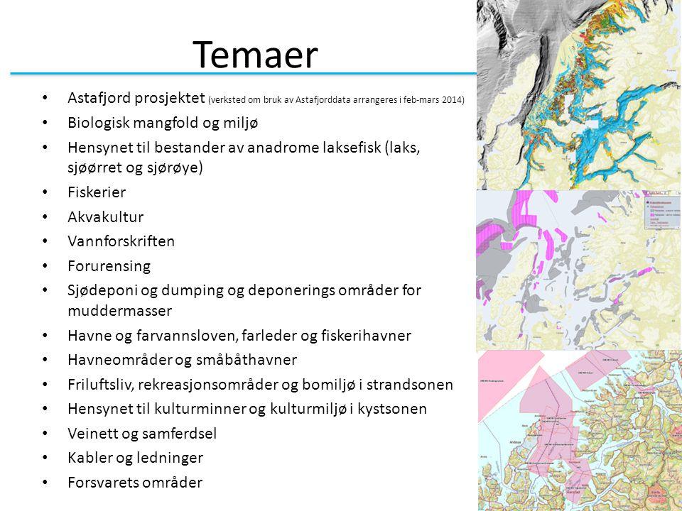 Temaer Astafjord prosjektet (verksted om bruk av Astafjorddata arrangeres i feb-mars 2014) Biologisk mangfold og miljø.