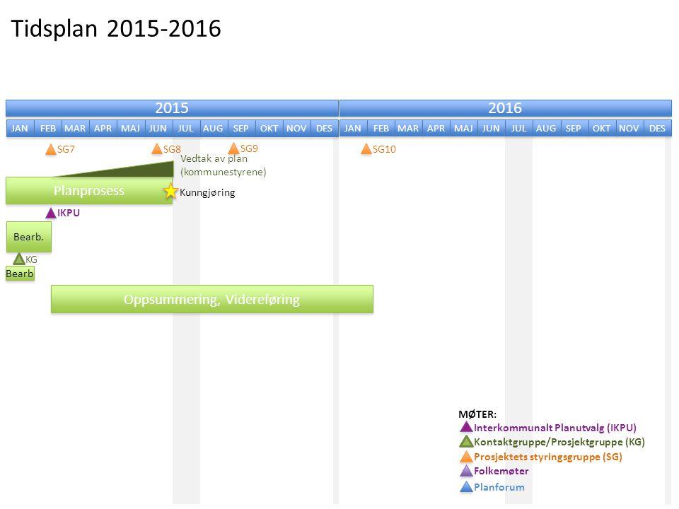 Tidsplan 2015-2016 2015 2016 Planprosess Oppsummering, Videreføring