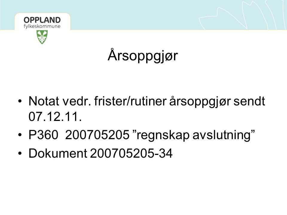 Årsoppgjør Notat vedr. frister/rutiner årsoppgjør sendt 07.12.11.