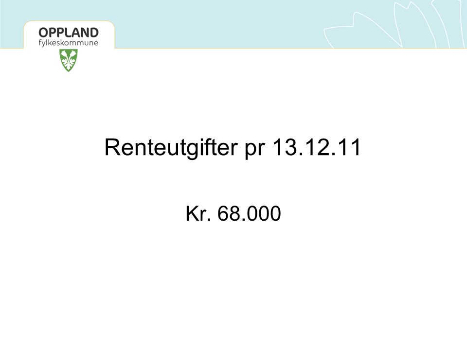 Renteutgifter pr 13.12.11 Kr. 68.000. Alle leverandører blir i utgangspunktet lagt inn i systemet med betalingsbetingelser 30 dager.