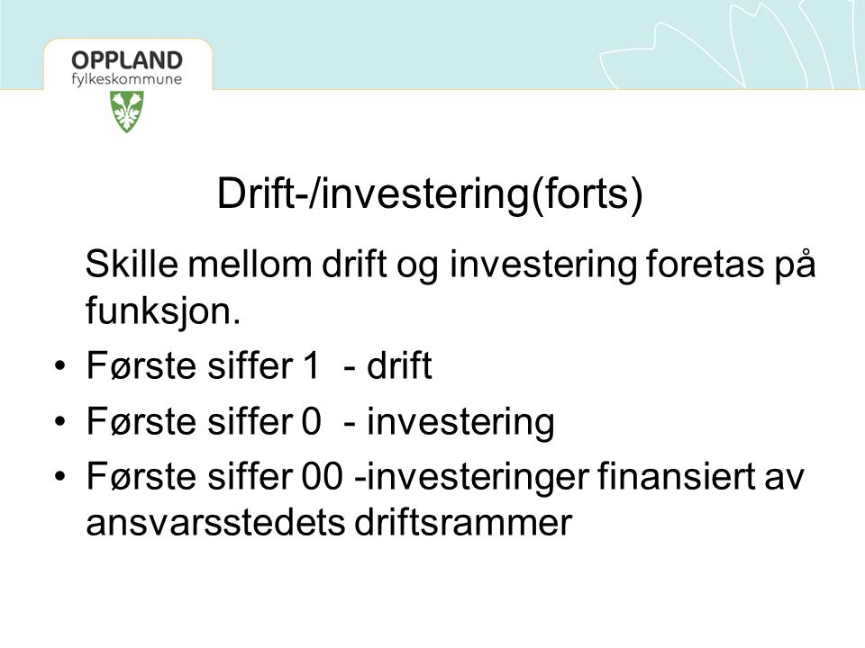 Drift-/investering(forts)
