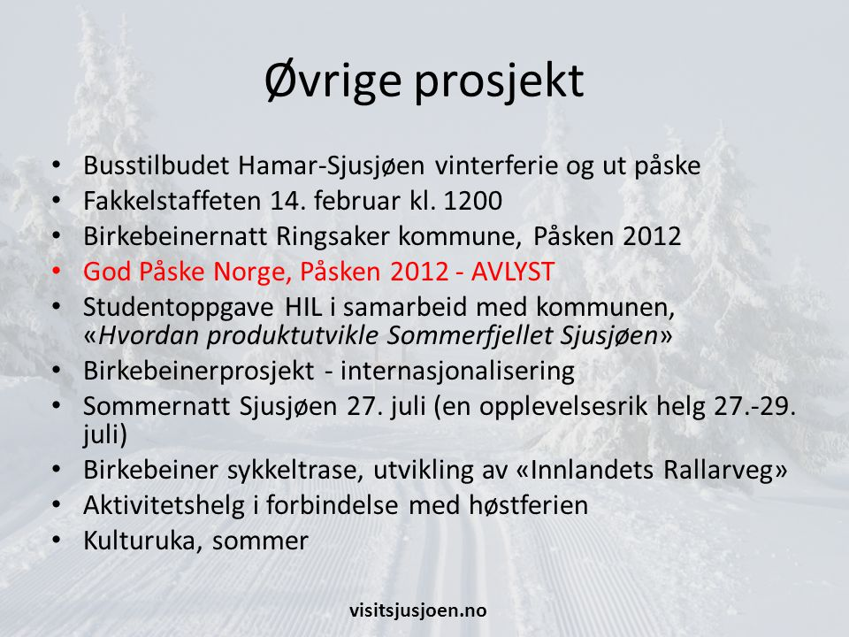 Øvrige prosjekt Busstilbudet Hamar-Sjusjøen vinterferie og ut påske