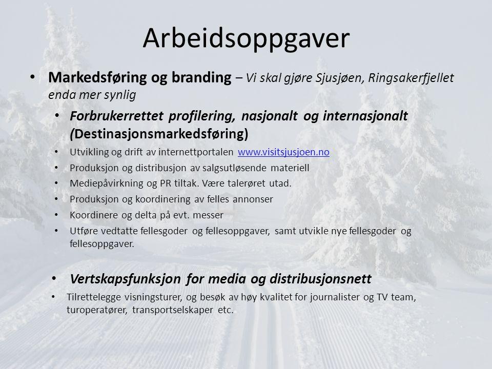 Arbeidsoppgaver Markedsføring og branding – Vi skal gjøre Sjusjøen, Ringsakerfjellet enda mer synlig.