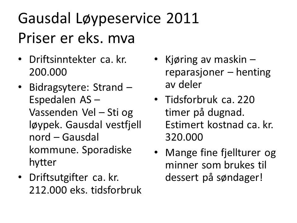 Gausdal Løypeservice 2011 Priser er eks. mva