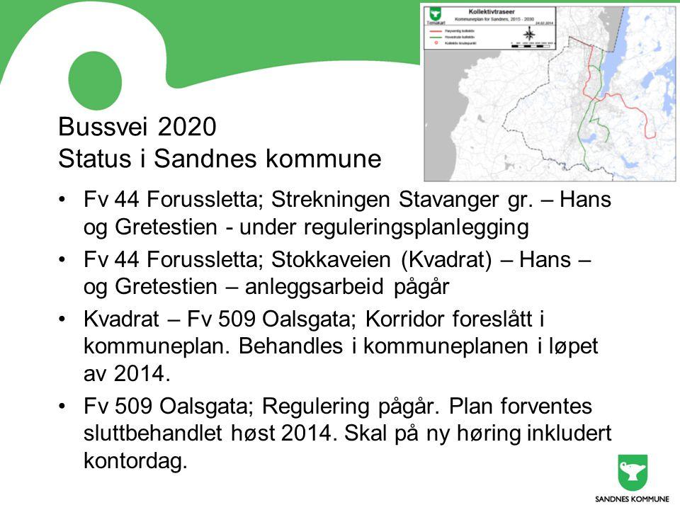 Bussvei 2020 Status i Sandnes kommune