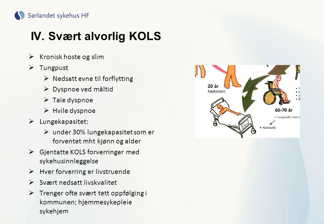 IV. Svært alvorlig KOLS Kronisk hoste og slim Tungpust