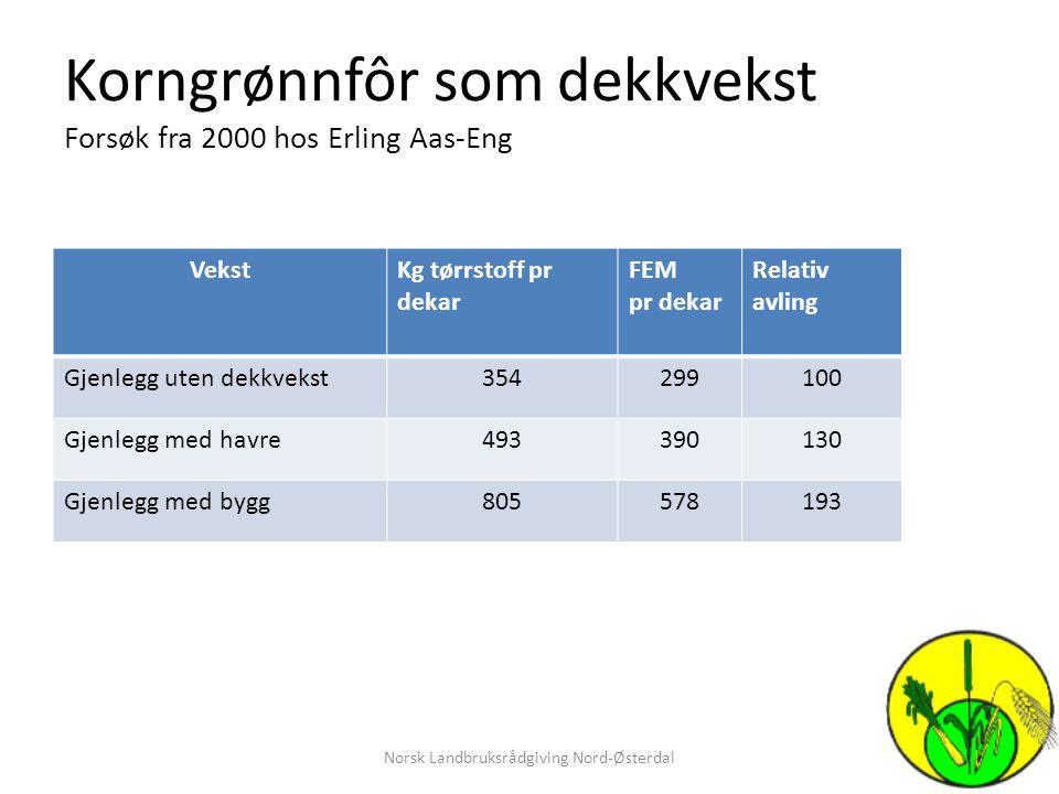Korngrønnfôr som dekkvekst Forsøk fra 2000 hos Erling Aas-Eng