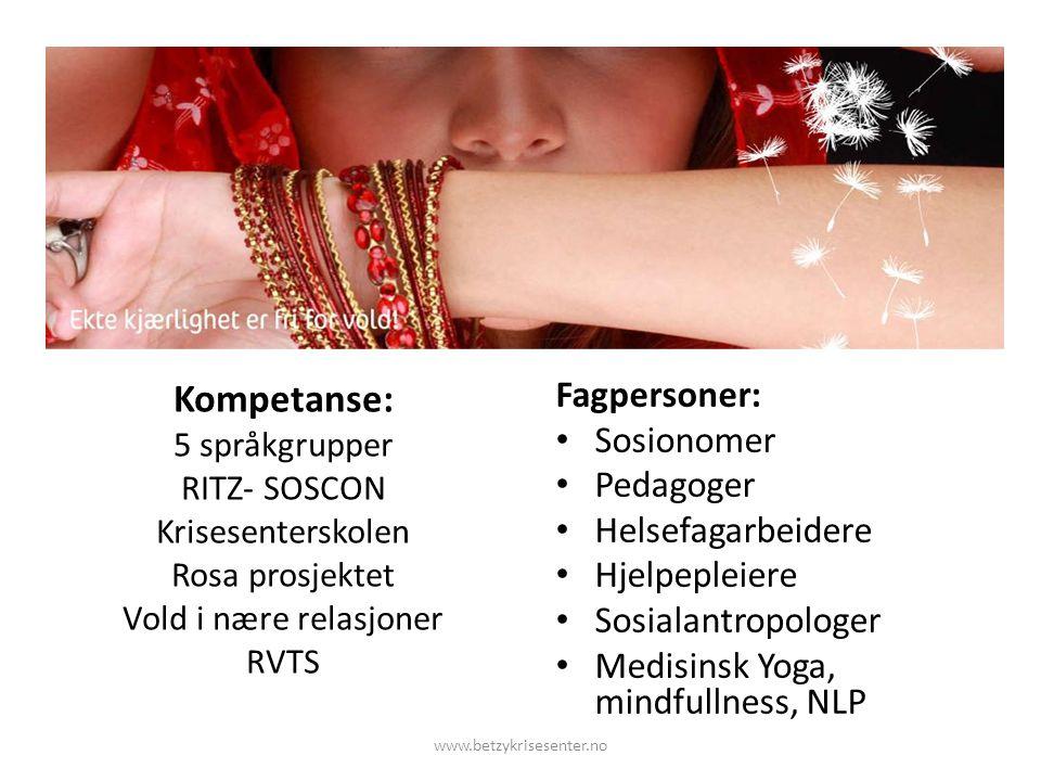 Kompetanse: 5 språkgrupper RITZ- SOSCON Krisesenterskolen Rosa prosjektet Vold i nære relasjoner RVTS