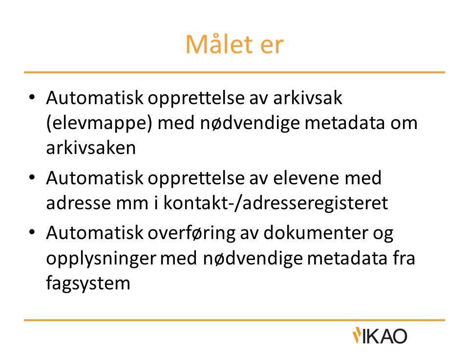 Målet er Automatisk opprettelse av arkivsak (elevmappe) med nødvendige metadata om arkivsaken.