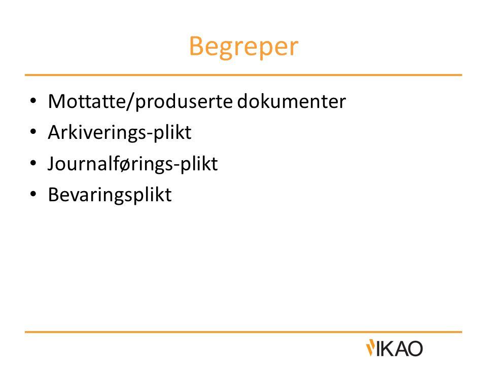 Begreper Mottatte/produserte dokumenter Arkiverings-plikt